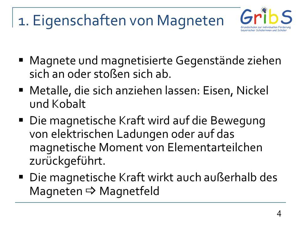 5 1.Eigenschaften von Magneten Das Magnetfeld kann durch Linien dargestellt werden.