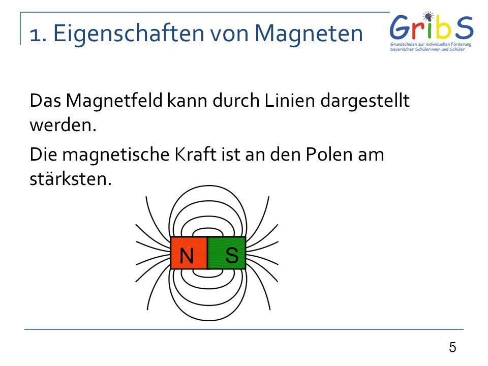 5 1. Eigenschaften von Magneten Das Magnetfeld kann durch Linien dargestellt werden. Die magnetische Kraft ist an den Polen am stärksten. N S