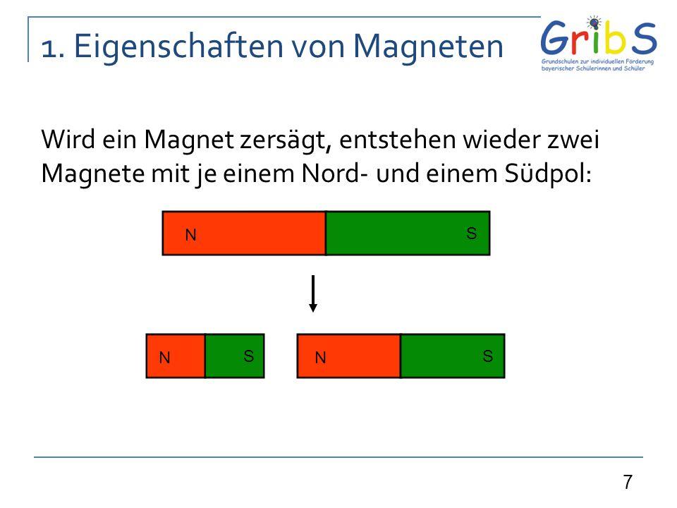 7 1. Eigenschaften von Magneten Wird ein Magnet zersägt, entstehen wieder zwei Magnete mit je einem Nord- und einem Südpol: N S N S N S
