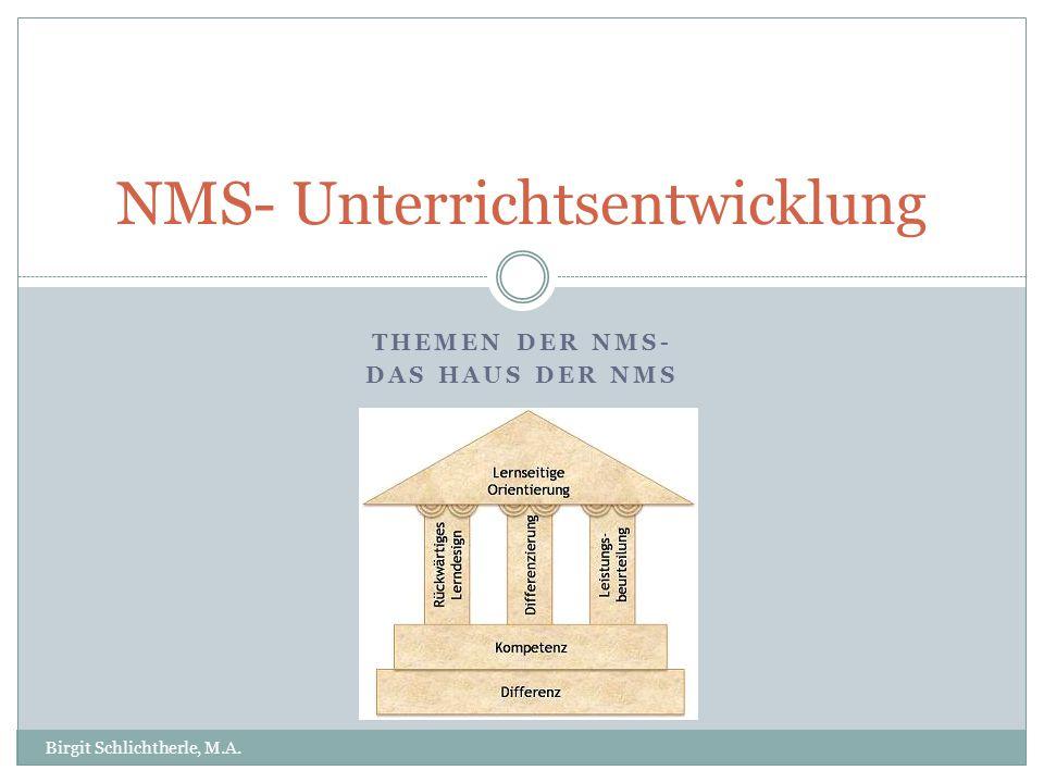 THEMEN DER NMS- DAS HAUS DER NMS NMS- Unterrichtsentwicklung Birgit Schlichtherle, M.A.