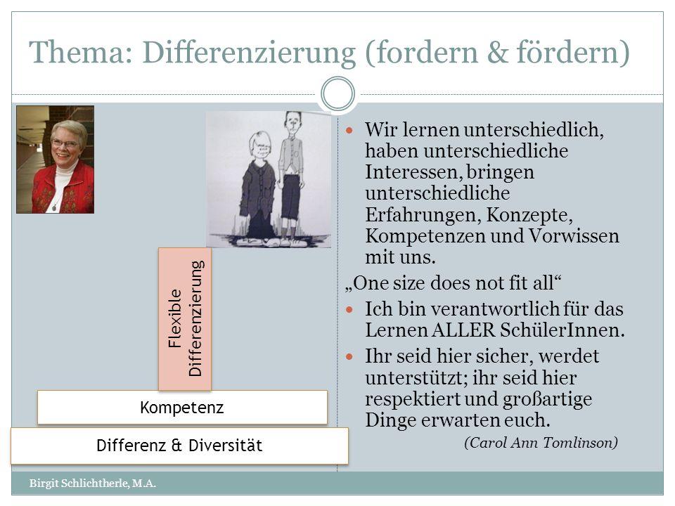 Thema: Differenzierung (fordern & fördern) Wir lernen unterschiedlich, haben unterschiedliche Interessen, bringen unterschiedliche Erfahrungen, Konzep