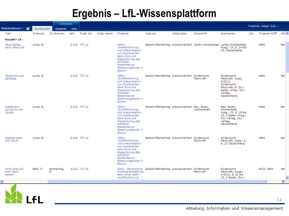 Abteilung Information und Wissensmanagement 14 Ergebnis – LfL-Wissensplattform