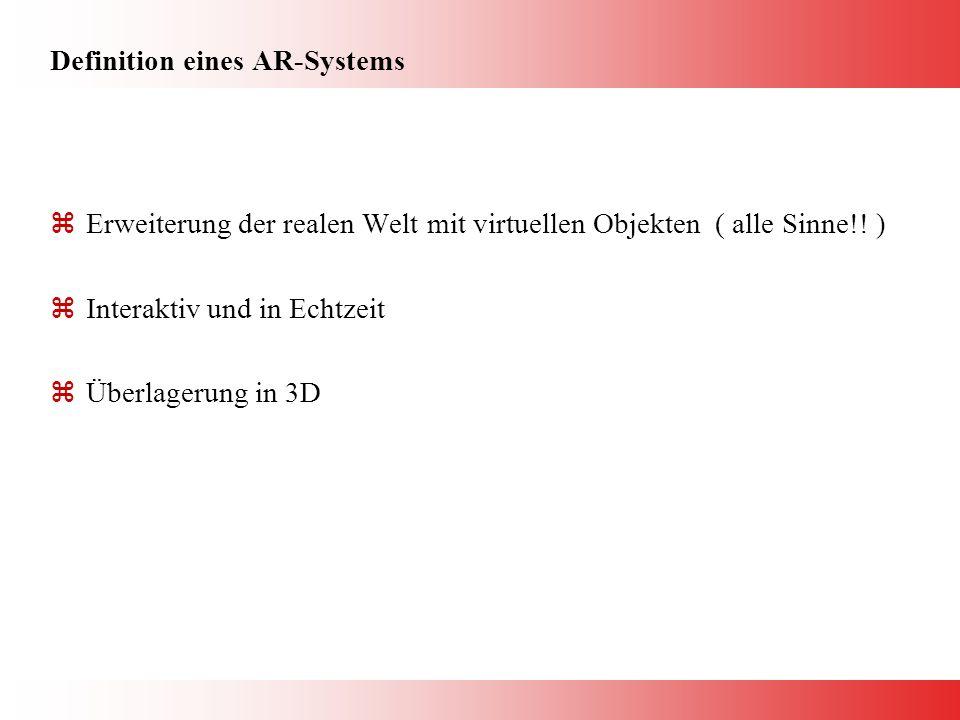 Definition eines AR-Systems zErweiterung der realen Welt mit virtuellen Objekten ( alle Sinne!.