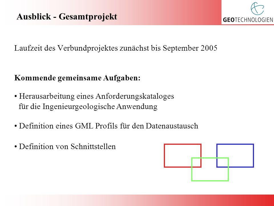 Ausblick - Gesamtprojekt Laufzeit des Verbundprojektes zunächst bis September 2005 Definition eines GML Profils für den Datenaustausch Definition von Schnittstellen Herausarbeitung eines Anforderungskataloges für die Ingenieurgeologische Anwendung Kommende gemeinsame Aufgaben: