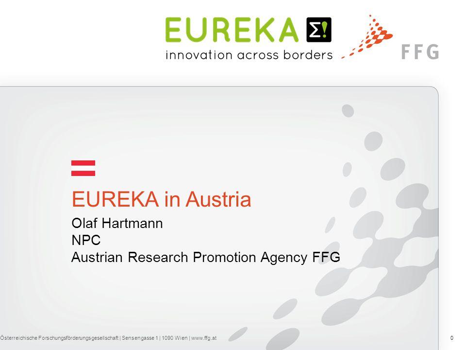 Olaf Hartmann NPC Austrian Research Promotion Agency FFG EUREKA in Austria Österreichische Forschungsförderungsgesellschaft | Sensengasse 1 | 1090 Wien | www.ffg.at0
