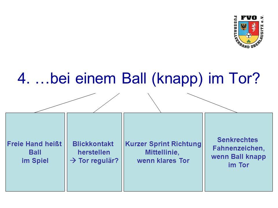 4. …bei einem Ball (knapp) im Tor? Freie Hand heißt Ball im Spiel Blickkontakt herstellen  Tor regulär? Kurzer Sprint Richtung Mittellinie, wenn klar