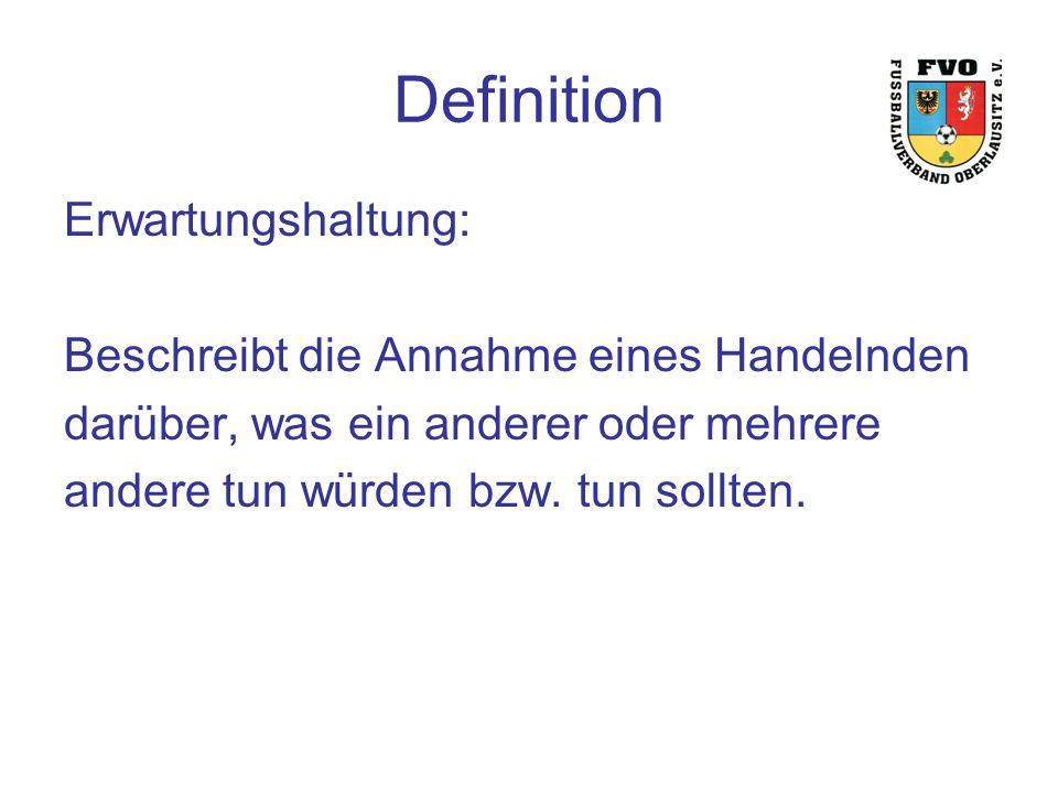 Definition Erwartungshaltung: Beschreibt die Annahme eines Handelnden darüber, was ein anderer oder mehrere andere tun würden bzw.