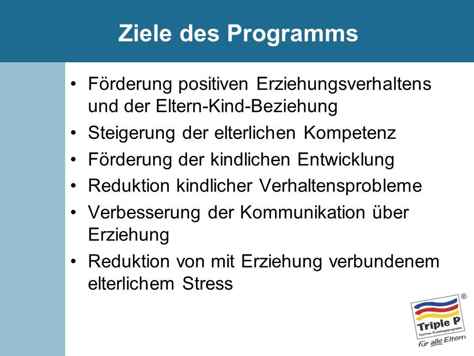 Ziele des Programms Förderung positiven Erziehungsverhaltens und der Eltern-Kind-Beziehung Steigerung der elterlichen Kompetenz Förderung der kindlich