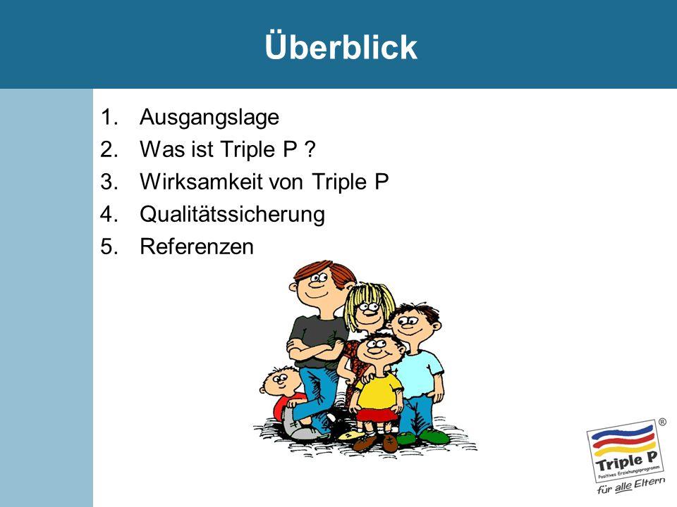 Überblick 1.Ausgangslage 2.Was ist Triple P ? 3.Wirksamkeit von Triple P 4.Qualitätssicherung 5.Referenzen
