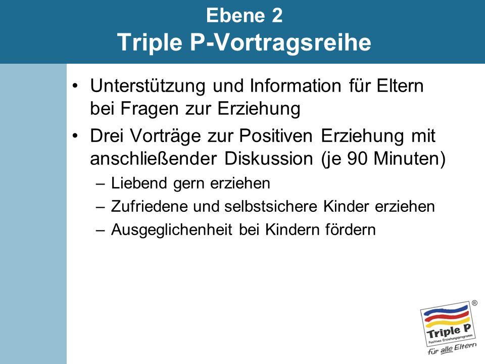 Ebene 2 Triple P-Vortragsreihe Unterstützung und Information für Eltern bei Fragen zur Erziehung Drei Vorträge zur Positiven Erziehung mit anschließen