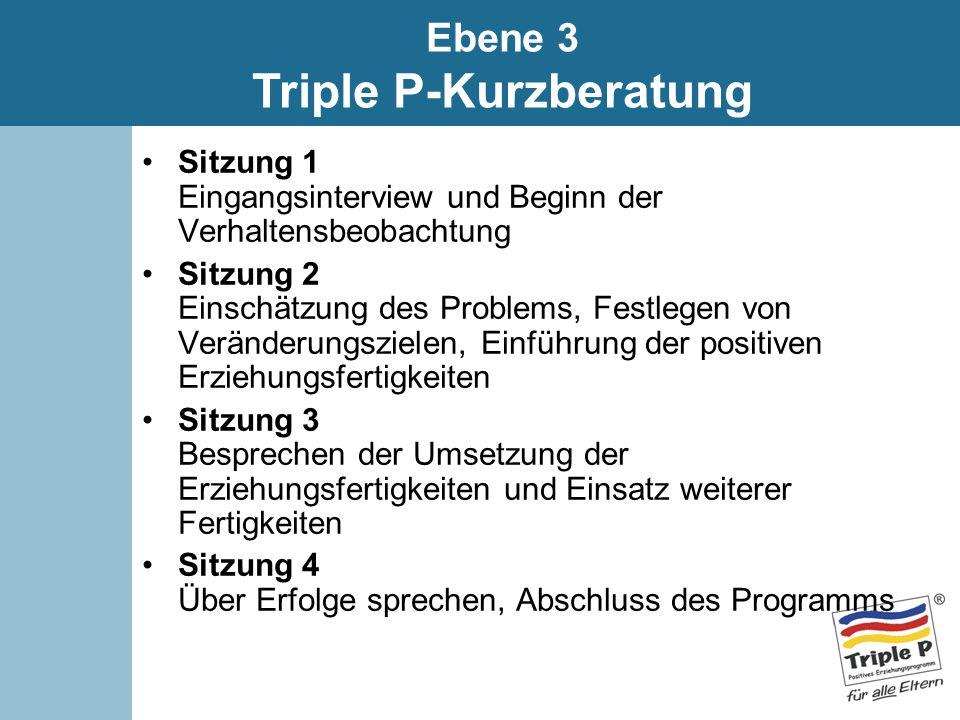Sitzung 1 Eingangsinterview und Beginn der Verhaltensbeobachtung Sitzung 2 Einschätzung des Problems, Festlegen von Veränderungszielen, Einführung der