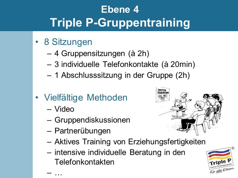 8 Sitzungen –4 Gruppensitzungen (à 2h) –3 individuelle Telefonkontakte (à 20min) –1 Abschlusssitzung in der Gruppe (2h) Vielfältige Methoden –Video –G