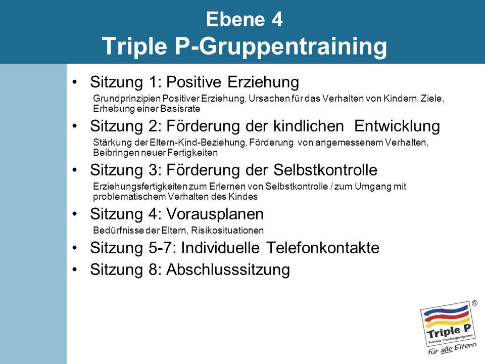 Sitzung 1: Positive Erziehung Grundprinzipien Positiver Erziehung, Ursachen für das Verhalten von Kindern, Ziele, Erhebung einer Basisrate Sitzung 2: