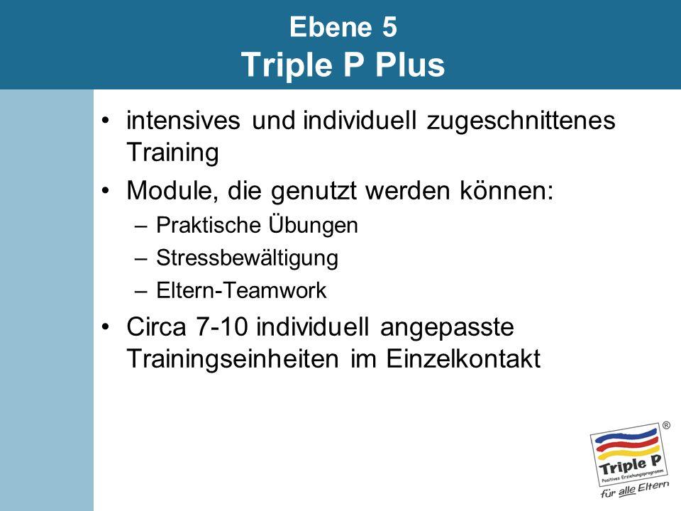 Ebene 5 Triple P Plus intensives und individuell zugeschnittenes Training Module, die genutzt werden können: –Praktische Übungen –Stressbewältigung –E