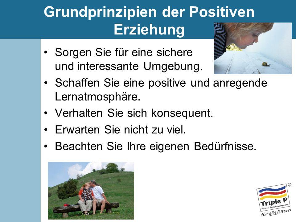 Grundprinzipien der Positiven Erziehung Sorgen Sie für eine sichere und interessante Umgebung. Schaffen Sie eine positive und anregende Lernatmosphäre