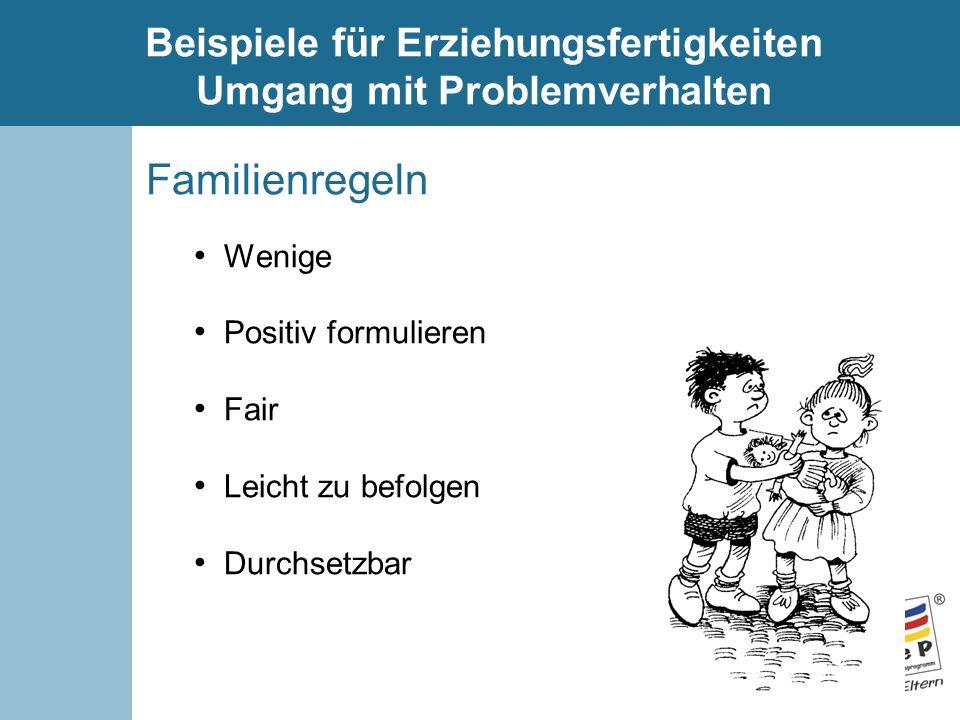 Beispiele für Erziehungsfertigkeiten Umgang mit Problemverhalten Familienregeln Wenige Positiv formulieren Fair Leicht zu befolgen Durchsetzbar
