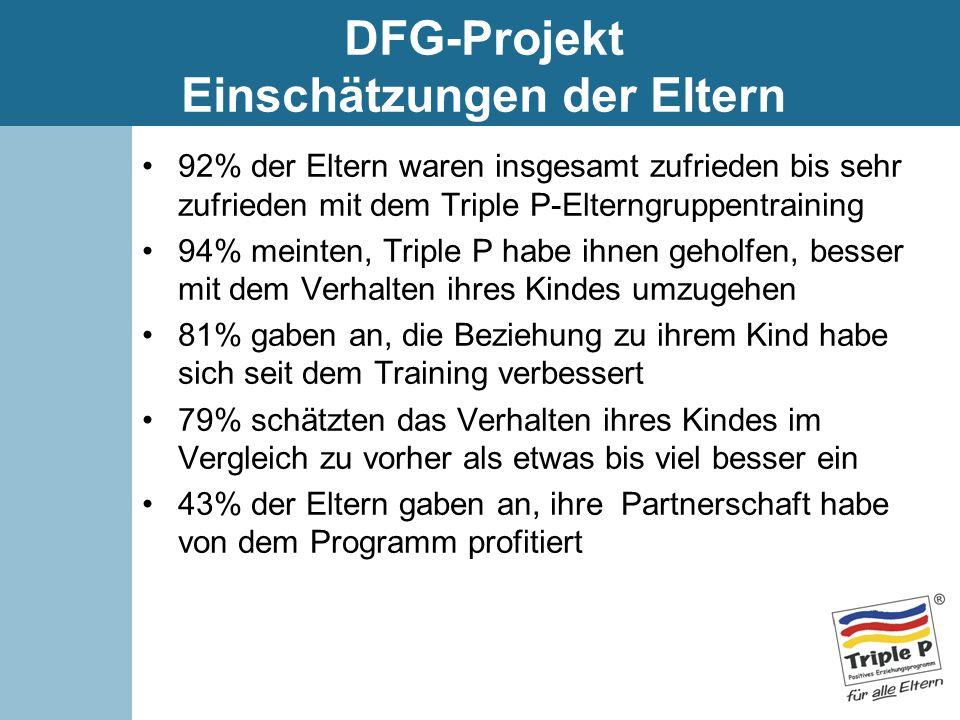 DFG-Projekt Einschätzungen der Eltern 92% der Eltern waren insgesamt zufrieden bis sehr zufrieden mit dem Triple P-Elterngruppentraining 94% meinten,