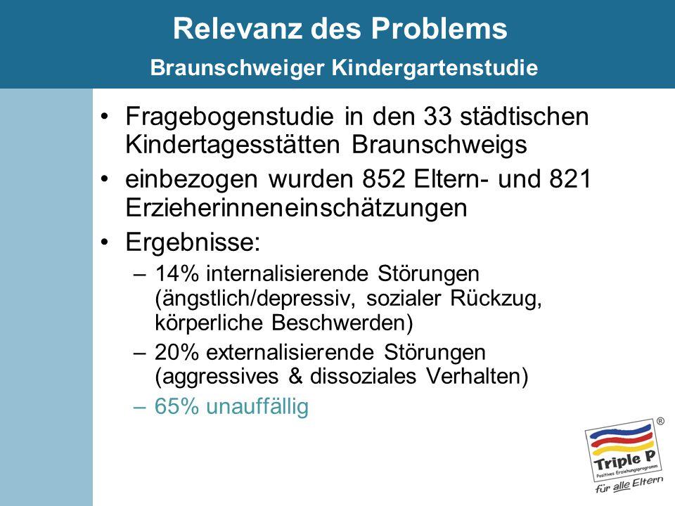 Relevanz des Problems Braunschweiger Kindergartenstudie Fragebogenstudie in den 33 städtischen Kindertagesstätten Braunschweigs einbezogen wurden 852