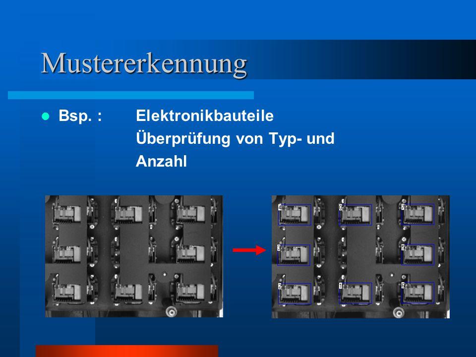 Mustererkennung Bsp. : Elektronikbauteile Überprüfung von Typ- und Anzahl