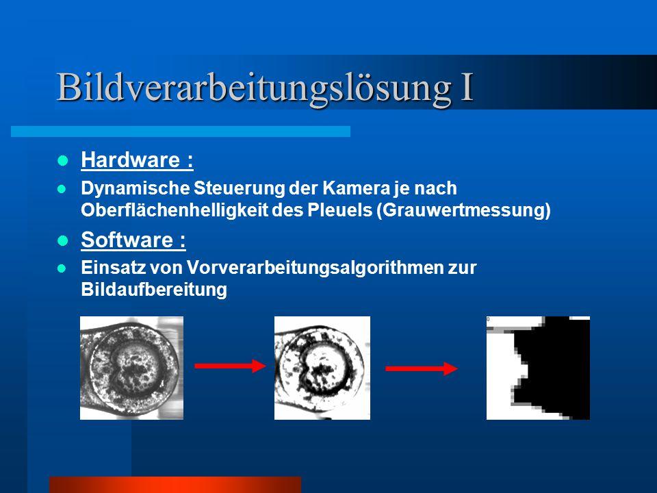 Bildverarbeitungslösung I Hardware : Dynamische Steuerung der Kamera je nach Oberflächenhelligkeit des Pleuels (Grauwertmessung) Software : Einsatz vo