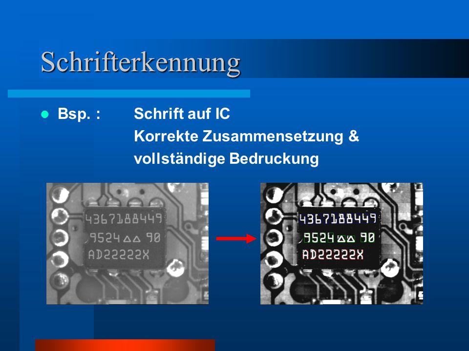 Bildverarbeitungslösung I Hardware : Dynamische Steuerung der Kamera je nach Oberflächenhelligkeit des Pleuels (Grauwertmessung) Software : Einsatz von Vorverarbeitungsalgorithmen zur Bildaufbereitung