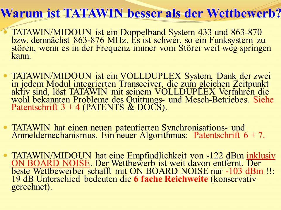 Die Empfindlichkeit von -122 dBm und die Störfestigkeit von 30 V/m im Arbeitskanal, also im selben Frequenzkanal, machen TATAWIN/MIDOUN einzigartig.