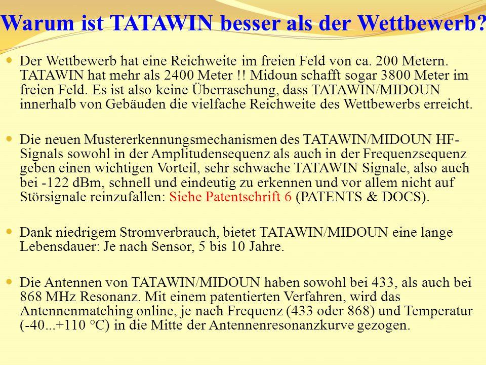 TATAWIN/MIDOUN hat eine variable anpassbare Sendeleistung von bis zu +14 dBm, je nachdem was im jeweiligen Frequenzkanal maximal nach der ETSI-Norm erlaubt ist.