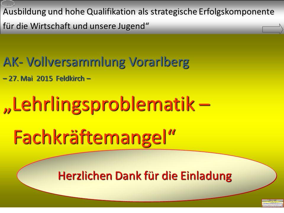 Grüß Gott und herzlichen Dank für die Einladung Ausbildung und hohe Qualifikation als strategische Erfolgskomponente für die Wirtschaft und unsere Jugend Wo AK- Vollversammlung Vorarlberg – 27.