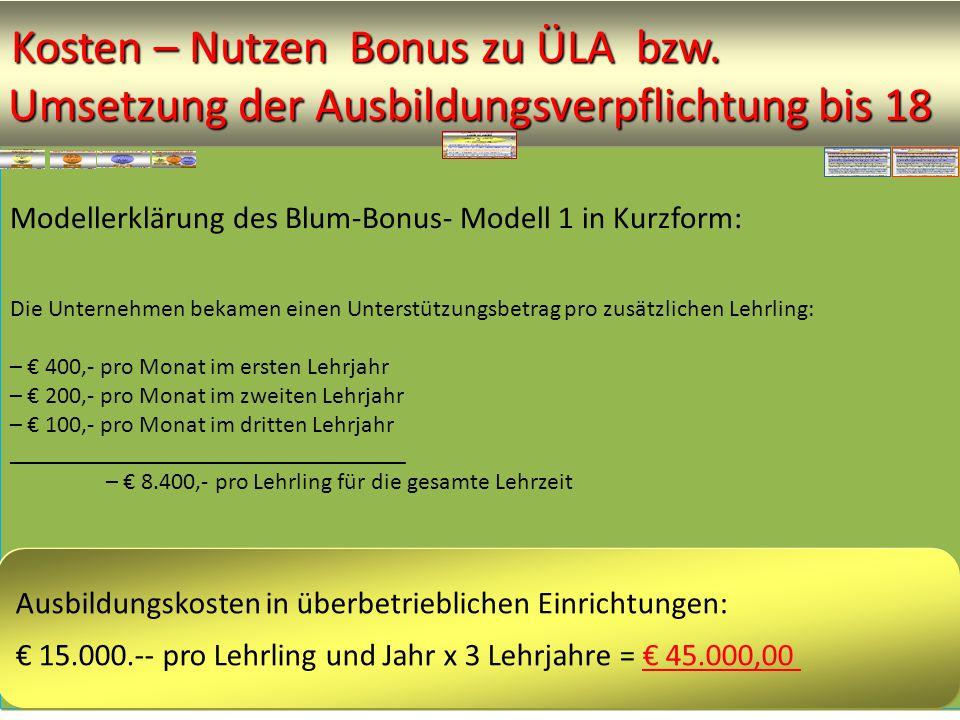 Modellerklärung des Blum-Bonus- Modell 1 in Kurzform: Die Unternehmen bekamen einen Unterstützungsbetrag pro zusätzlichen Lehrling: – € 400,- pro Monat im ersten Lehrjahr – € 200,- pro Monat im zweiten Lehrjahr – € 100,- pro Monat im dritten Lehrjahr _________________________________ – € 8.400,- pro Lehrling für die gesamte Lehrzeit ______________________________________________ Ausbildungskosten in überbetrieblichen Einrichtungen: € 15.000.-- pro Lehrling und Jahr x 3 Lehrjahre = € 45.000,00 Kosten – Nutzen Bonus zu ÜLA bzw.