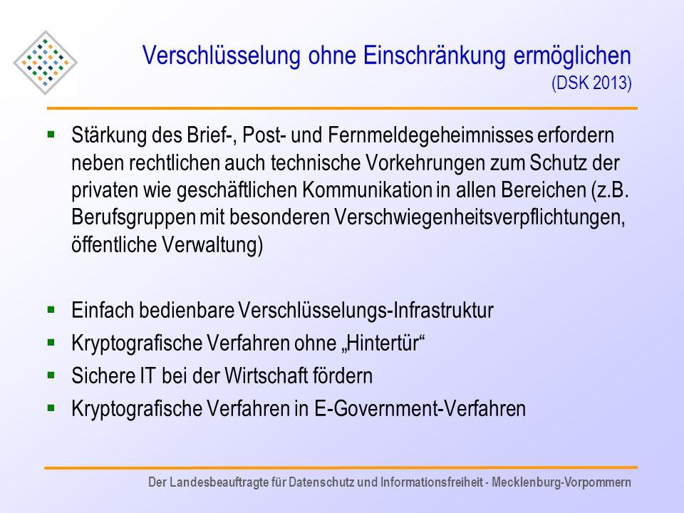 Verschlüsselung ohne Einschränkung ermöglichen (DSK 2013)  Stärkung des Brief-, Post- und Fernmeldegeheimnisses erfordern neben rechtlichen auch tech