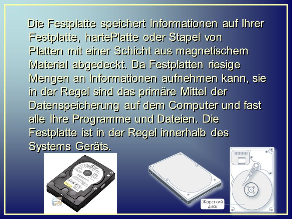 Die Festplatte speichert Informationen auf Ihrer Festplatte, hartePlatte oder Stapel von Platten mit einer Schicht aus magnetischem Material abgedeckt
