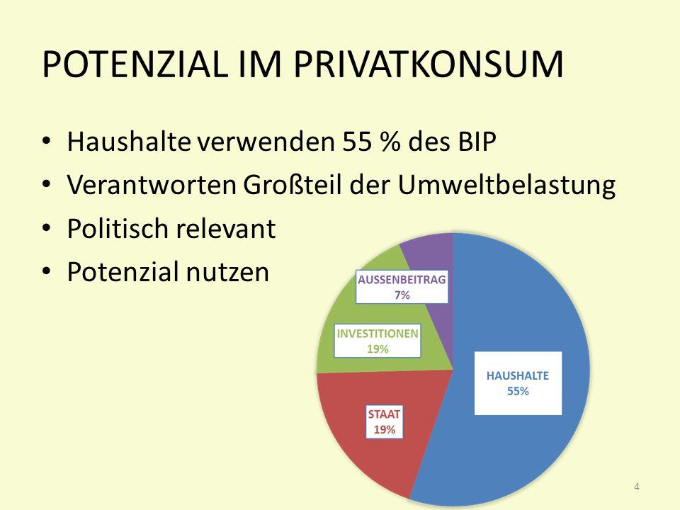 POTENZIAL IM PRIVATKONSUM 4 Haushalte verwenden 55 % des BIP Verantworten Großteil der Umweltbelastung Politisch relevant Potenzial nutzen