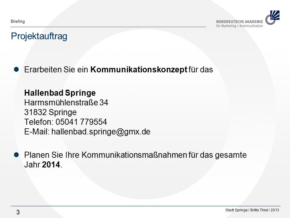 Stadt Springe / Britta Thiel / 2013 Briefing 34 Aktuelle Kommunikationsmaßnahmen Internetpräsenz Kein eigener Internet-Auftritt von der Stadt Springe bzw.