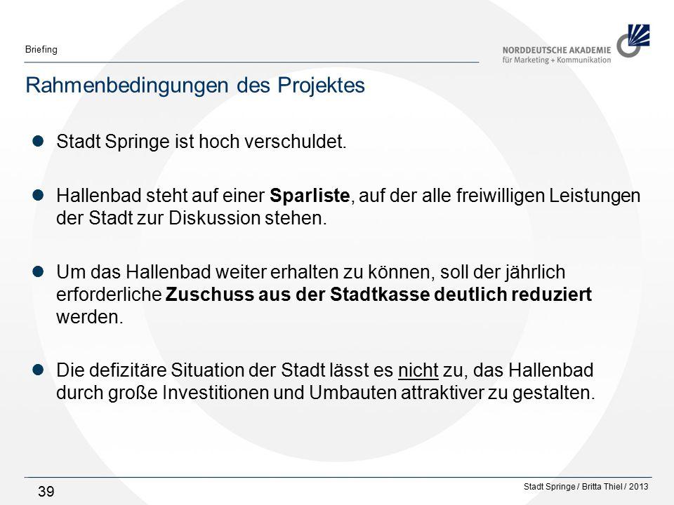 Stadt Springe / Britta Thiel / 2013 Briefing 39 Rahmenbedingungen des Projektes Stadt Springe ist hoch verschuldet.