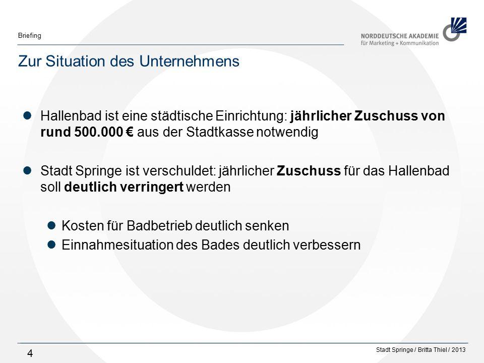 Stadt Springe / Britta Thiel / 2013 Briefing 55 Kreative Umsetzung Hallenbad-Maskottchen in die Gestaltung der kreativen Umsetzungen integrieren