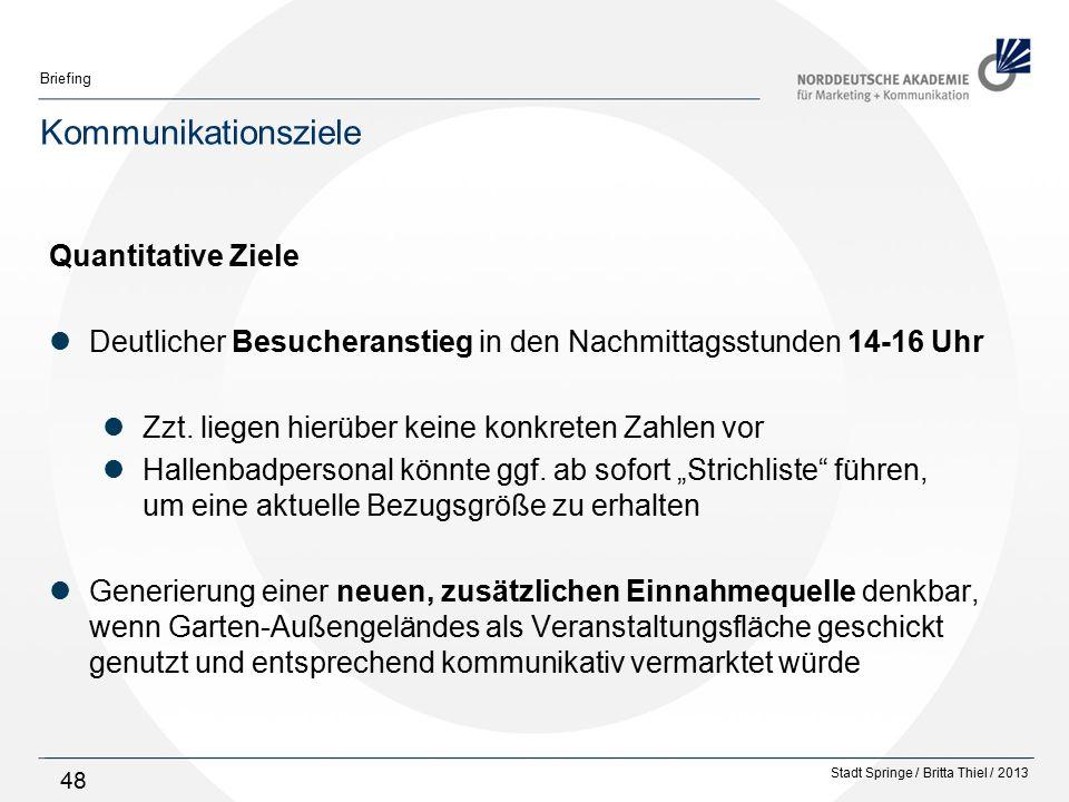Stadt Springe / Britta Thiel / 2013 Briefing 48 Kommunikationsziele Quantitative Ziele Deutlicher Besucheranstieg in den Nachmittagsstunden 14-16 Uhr Zzt.