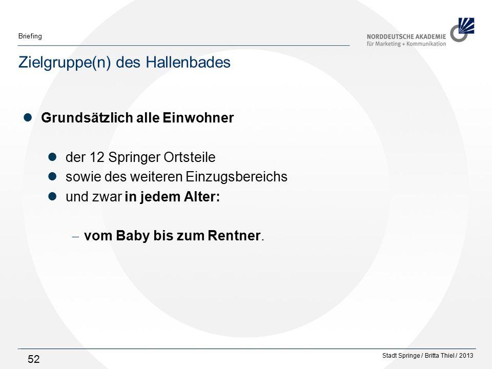 Stadt Springe / Britta Thiel / 2013 Briefing 52 Zielgruppe(n) des Hallenbades Grundsätzlich alle Einwohner der 12 Springer Ortsteile sowie des weiteren Einzugsbereichs und zwar in jedem Alter:  vom Baby bis zum Rentner.