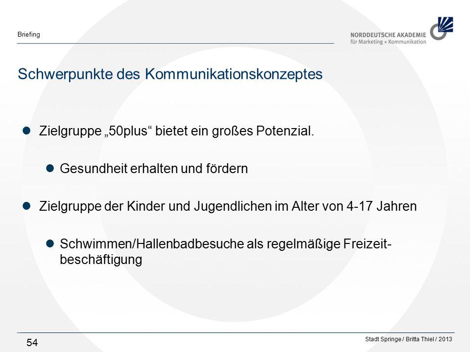 """Stadt Springe / Britta Thiel / 2013 Briefing 54 Schwerpunkte des Kommunikationskonzeptes Zielgruppe """"50plus bietet ein großes Potenzial."""