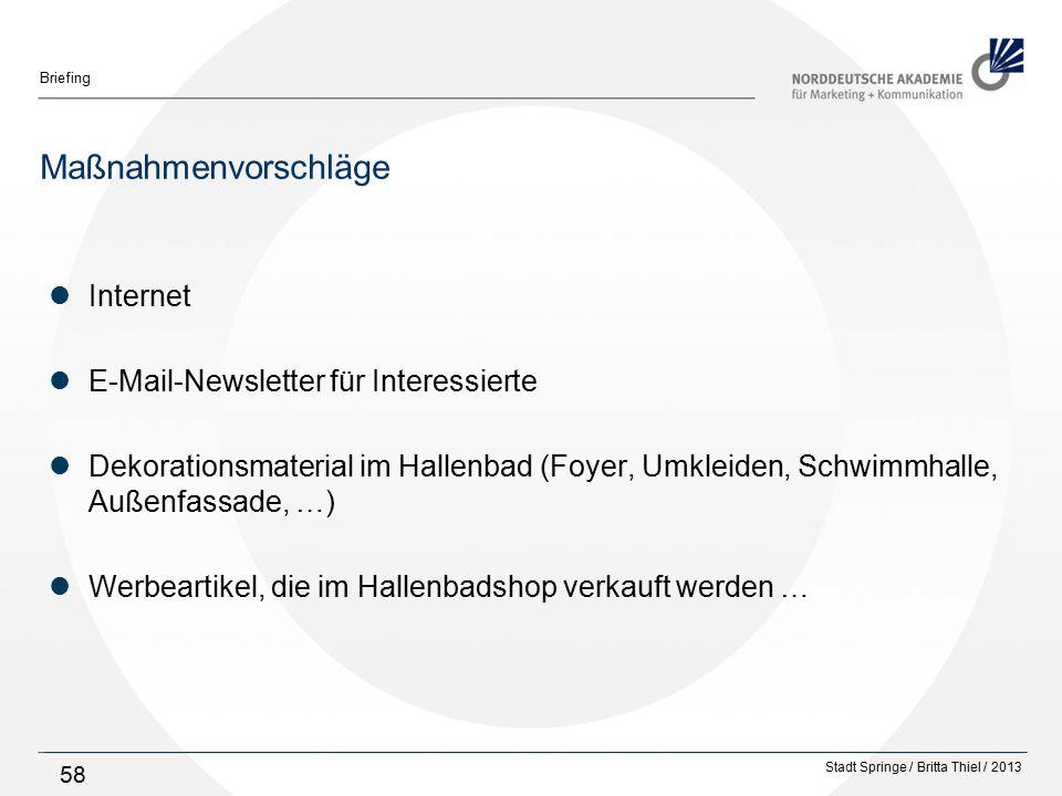 Stadt Springe / Britta Thiel / 2013 Briefing 58 Maßnahmenvorschläge Internet E-Mail-Newsletter für Interessierte Dekorationsmaterial im Hallenbad (Foyer, Umkleiden, Schwimmhalle, Außenfassade, …) Werbeartikel, die im Hallenbadshop verkauft werden …