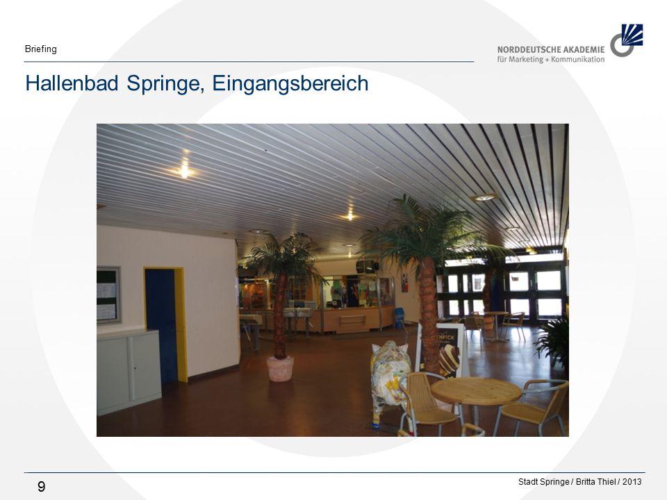 Stadt Springe / Britta Thiel / 2013 Briefing 10 Ausstattung des Hallenbades Gebäude ist barrierefrei Zutritt Umkleide Sitzlift ins Schwimmerbecken Seit der Eröffnung 1976 wurde nur wenig verändert