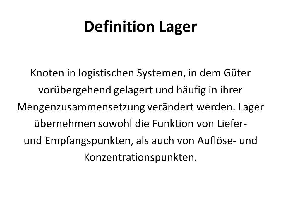 Definition Lager Knoten in logistischen Systemen, in dem Güter vorübergehend gelagert und häufig in ihrer Mengenzusammensetzung verändert werden. Lage