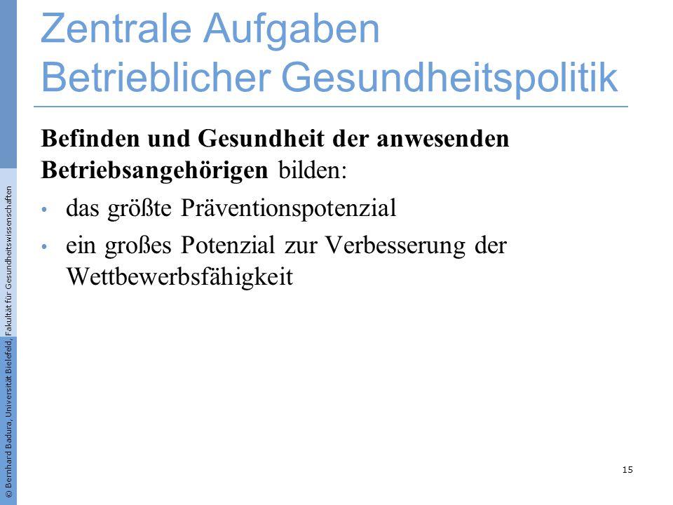 © Bernhard Badura, Universität Bielefeld, Fakultät für Gesundheitswissenschaften Zentrale Aufgaben Betrieblicher Gesundheitspolitik Befinden und Gesun
