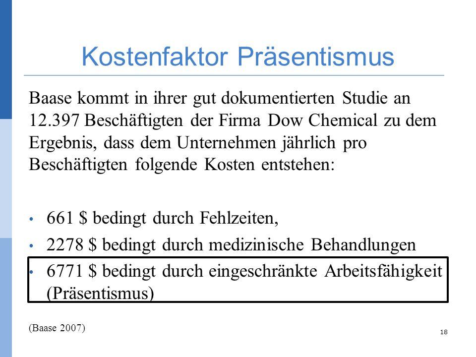 Kostenfaktor Präsentismus Baase kommt in ihrer gut dokumentierten Studie an 12.397 Beschäftigten der Firma Dow Chemical zu dem Ergebnis, dass dem Unte