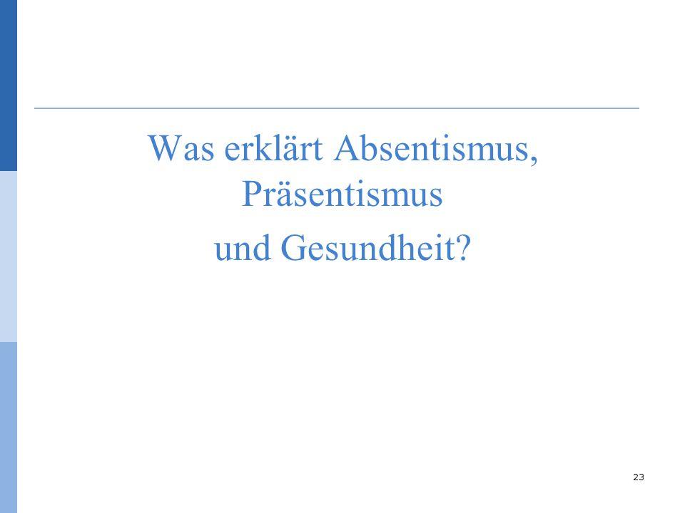 Was erklärt Absentismus, Präsentismus und Gesundheit? 23