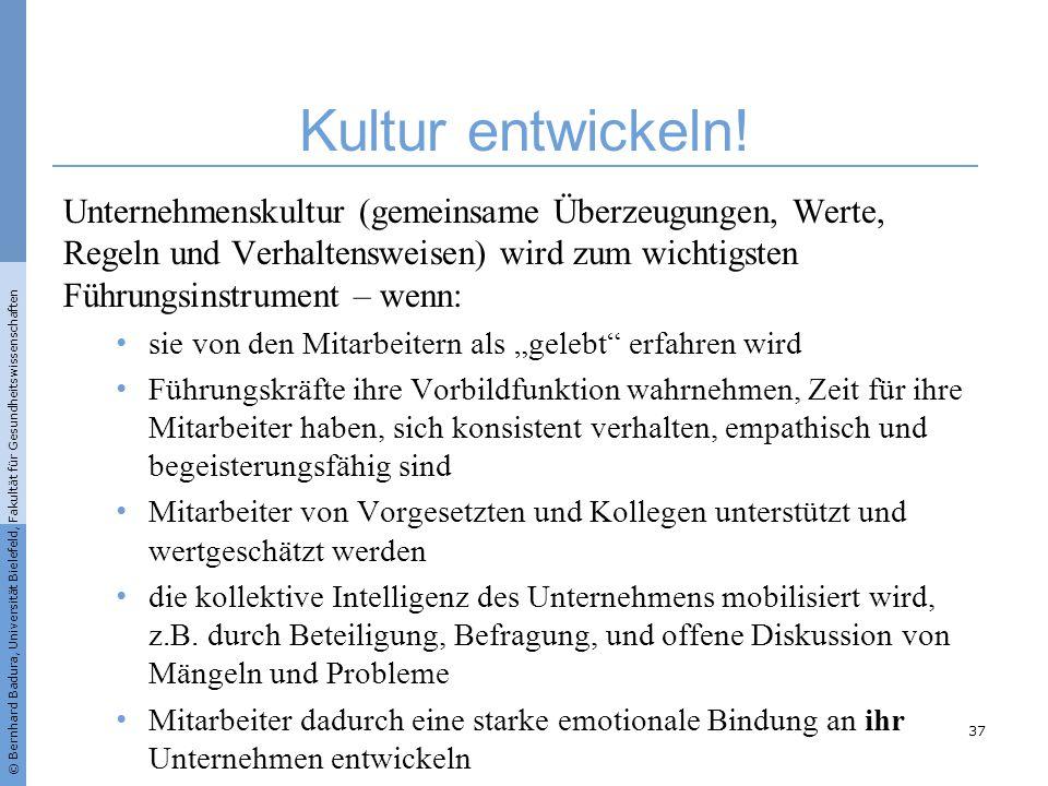 © Bernhard Badura, Universität Bielefeld, Fakultät für Gesundheitswissenschaften Kultur entwickeln! Unternehmenskultur (gemeinsame Überzeugungen, Wert
