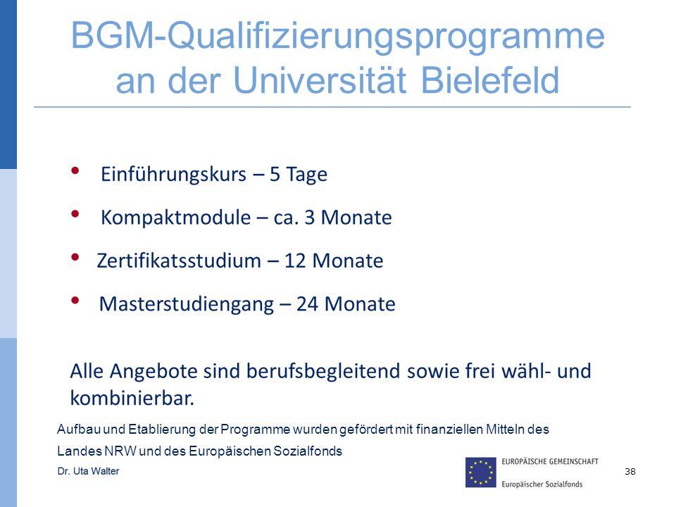 BGM-Qualifizierungsprogramme an der Universität Bielefeld 38 Aufbau und Etablierung der Programme wurden gefördert mit finanziellen Mitteln des Landes