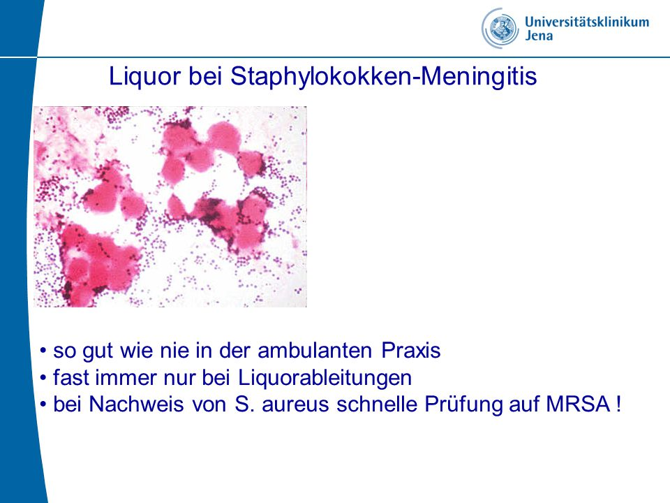 Liquor bei Staphylokokken-Meningitis so gut wie nie in der ambulanten Praxis fast immer nur bei Liquorableitungen bei Nachweis von S. aureus schnelle