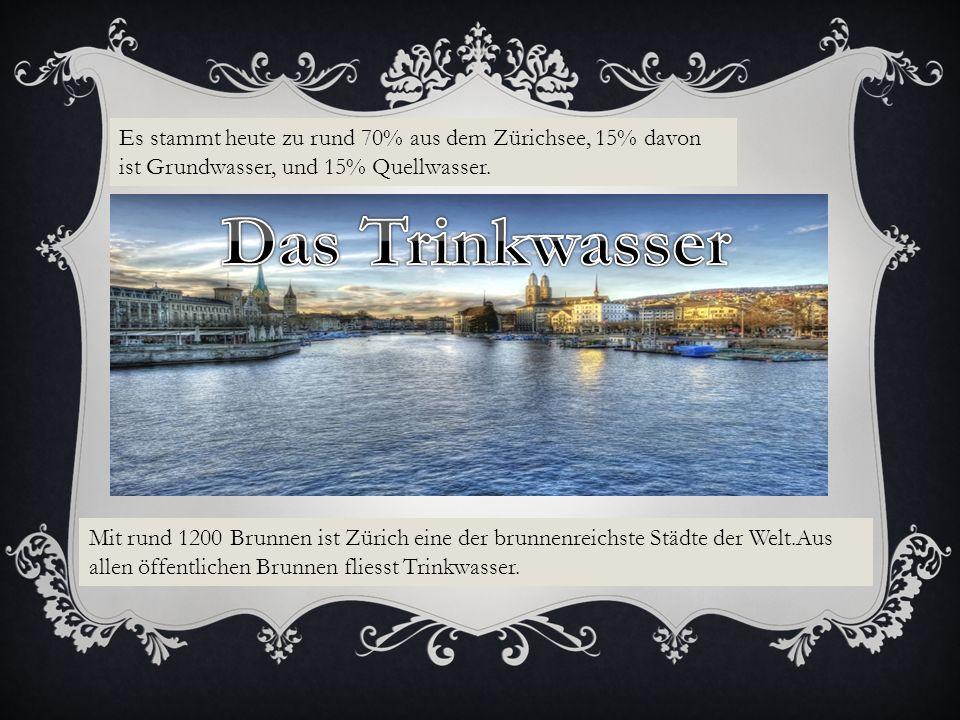 Es stammt heute zu rund 70% aus dem Zürichsee, 15% davon ist Grundwasser, und 15% Quellwasser.