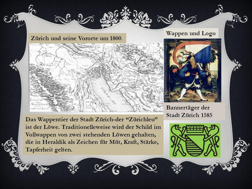 Zürich und seine Vororte um 1800.