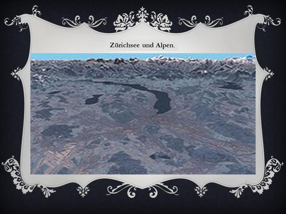 Zürichsee und Alpen.